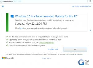 """Cattura della nuova schermata ingannevole di """"Ottieni Windows 10"""""""